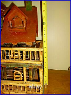 Vintage Hand Crafted Wooden Victorian House Bird Cage Decorative