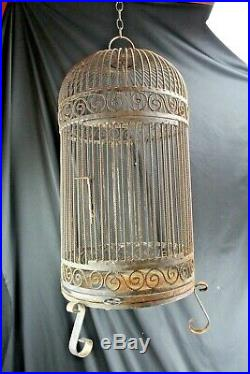 Vintage Large 32 Bird Cage Wrought Iron Twisted Wire Mid Century
