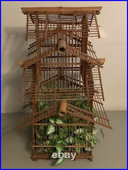 Vintage Large Bamboo Bird Cage 3 Tier Wooden House Shaped