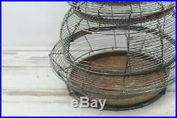 Vintage Large Beehive Shaped Wire Birdcage Round Bird Cage Fabulous Green Patin
