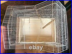 Vintage Large White Hoei Bird Cage, Made In Japan, Detailed House Style, Handled