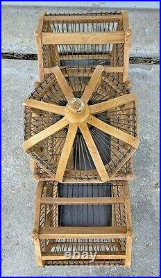 Vintage Large Wooden Victorian Taj Mahal Mansion Cathedral Dome Bird Cage 33'