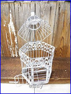 Vintage-Look Chippy Shabby 15 x 8 Birdcage Cage Wedding Card Plant Holder