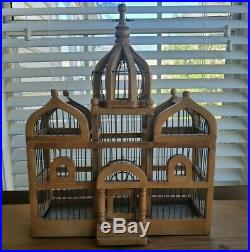 Vintage Victorian 19 Large Domed Cathedral Taj Mahal Style Wooden Bird Cage