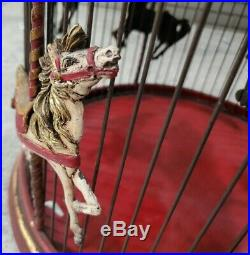 Vintage Victorian Decorative Red Hanging Horse Carousel Bird Cage 21 x 17