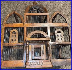 Vintage Victorian Wooden Bird Cage Large 19 Domed Cathedral Taj Mahal Style