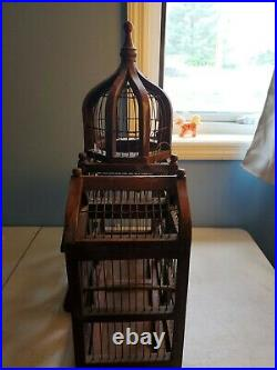 Vintage Victorian Wooden Bird Cage Large 24 Domed Cathedral Taj Mahal Style