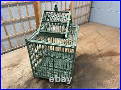 Vintage Wooden Bird Cage Birdcage Hanging / Table Shabby Carved Vintage AWESOME