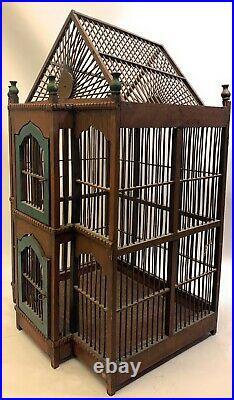 Vintage Wooden Bird Cage Complete with Floor Wood Tray