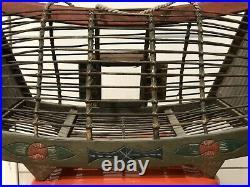 Vintage Wooden Bird Cage Polynesian Painted Parakeet Hand Crafted Decor hanging