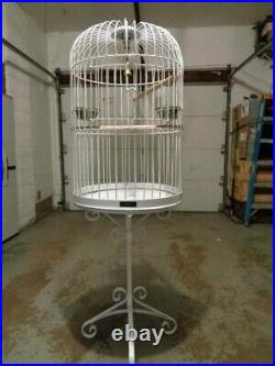 Vintage Wrought Iron Dome Top Parrot Bird Cage With Stand