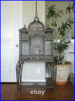 Vtg Bird Cage Cathedral Iron Victorian Dome Gold Tip Ornate Scrolls & Base Stand