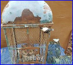 Vtg Metal Cast Iron Claw Foot Bird Cage House Architectural Victorian Aviary Lot