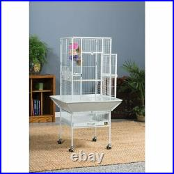 White Bird Cage Large Flight Wood Perch Lower Shelf Drawer Caster Mobile Cage US