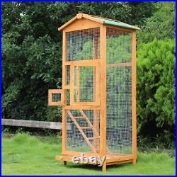 Wooden Large Bird Cage 65 Pet Play Covered House Ladder Feeder Stand Outdoor