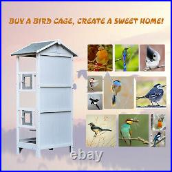 Wooden Outdoor Aviary Bird Cage Large Play House with Removable Bottom Tray Pets