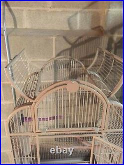 Wrought Iron Open Play Cage With Metal Seed Guard And On Rolling Stand