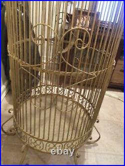 Wrought Iron Parrot cage Tall Round Antique. $250