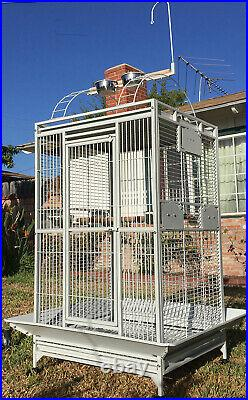 X-Large 28W x 22D X 77H Open Play-Top Parrot Bird Wrought Iron Rolling Cage