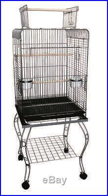 YML 20x20x58 Open Top Parrot Cage With Stand In Antique Silver-600HAS