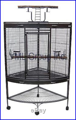 YML 3/4 Bar Spacing Corner Wrought Iron Parrot Cage in Antique Silver WI37CAS