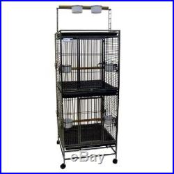 YML 5/8 Bar Spacing Play Top Wrought Iron Double Cage 25x25 In Antique Silver
