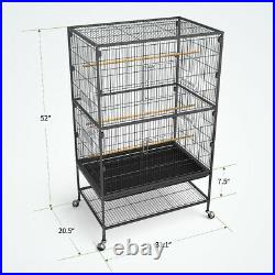 Yintatech 52 Bird Cage Large Pet On Wheels Parrot Parakeet Canary Finch Conure